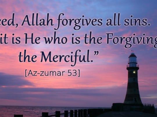Allah forgives all sins, verse, beacon of light