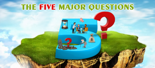 Here are the five major questions we will be asked by God. Number 5 on an island in the sky.