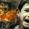 Evil problem, Islam, Suffering kid, destructed building.