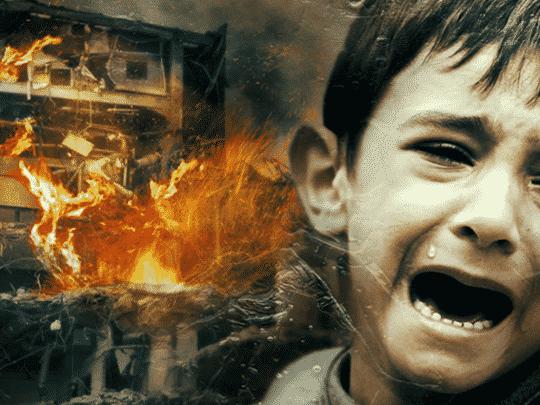 Evil problem, Islam, Suffering kid, destructed building.