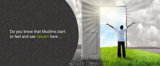 A boy in front of an open door, shinning sun, heaven is the eyes of Muslims