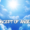"""Day light sky & clouds, with """"concept of angles"""" text."""